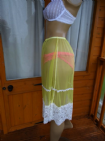 EXQUISITE HANDMADE SEE THRU NYLON PETTICOAT/SLIP  SIZE:- MEDIUM & LARGE  USA 6 & 7 (YELLOW)